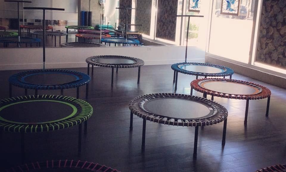 fitness studio with personal trampolines