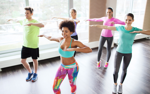 participants in a samba fitness class